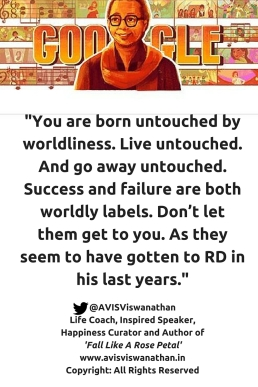 AVIS Viswanathan - Success and Failure are mere worldly labels - R D Burman