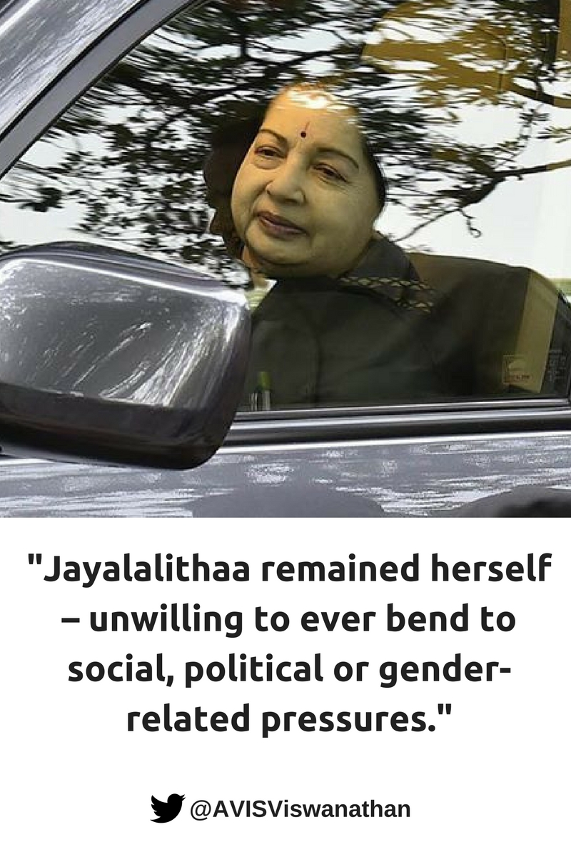 jayalalithaa-remained-herself-unwilling-to-ever-bend-to-social-political-or-gender-related-pressures